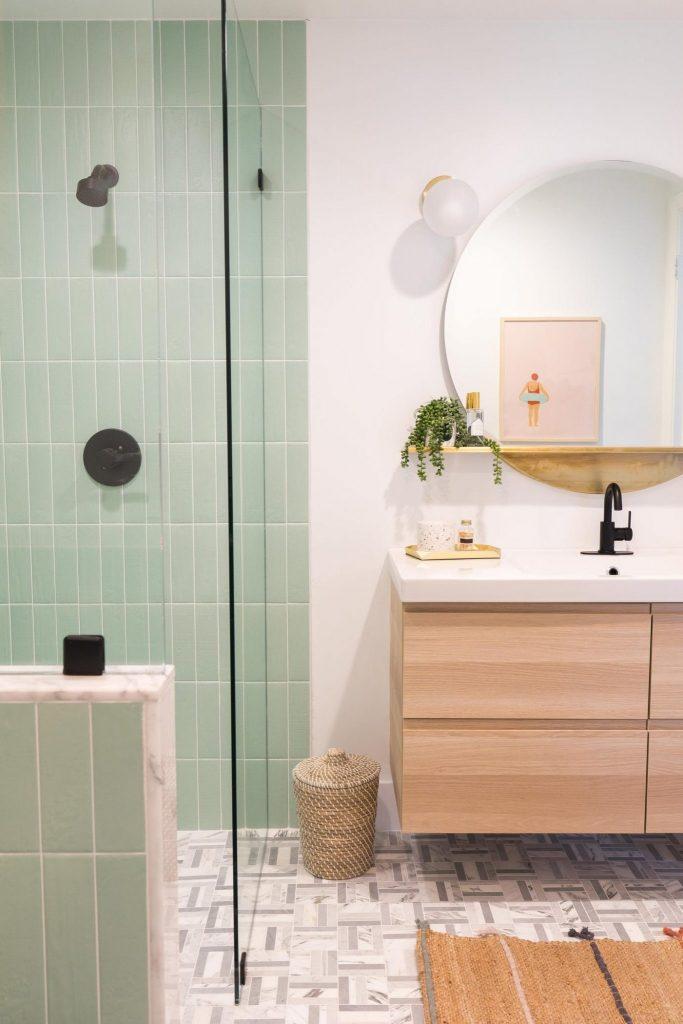 shower tile ideas Pastel Colored Shower Wall Tiles