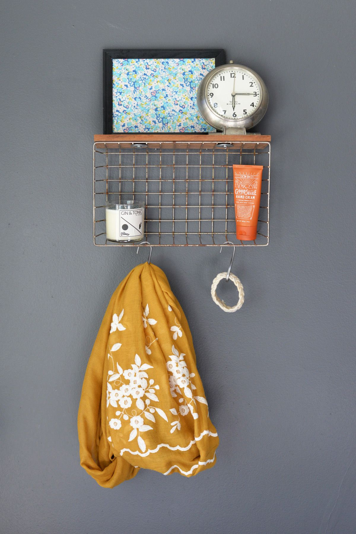 Wire basket turned into a wall organizer