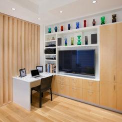 Allen+Killcoyne Architects - shevels and vases around tv