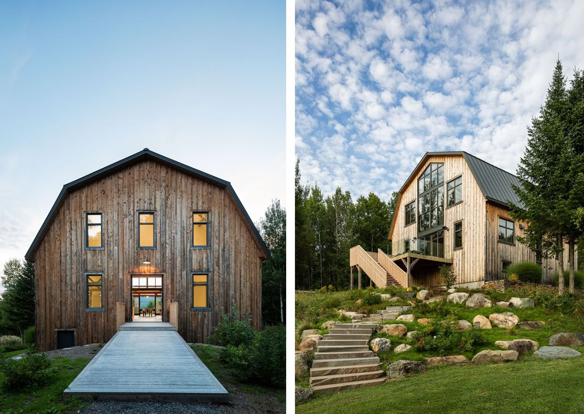 The remodeled barn stands quite tall and enjoys a strong connection with the landscape around it
