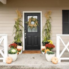 Cornstalk fall wreath and porch decor