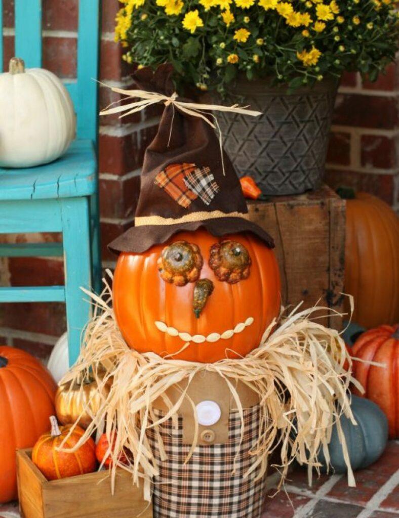 Create a Unique Fall Porch Decorative Scarecrow