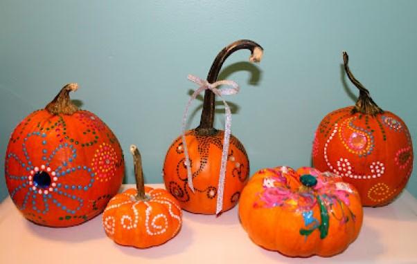 Dot Pattern Painted Pumpkins