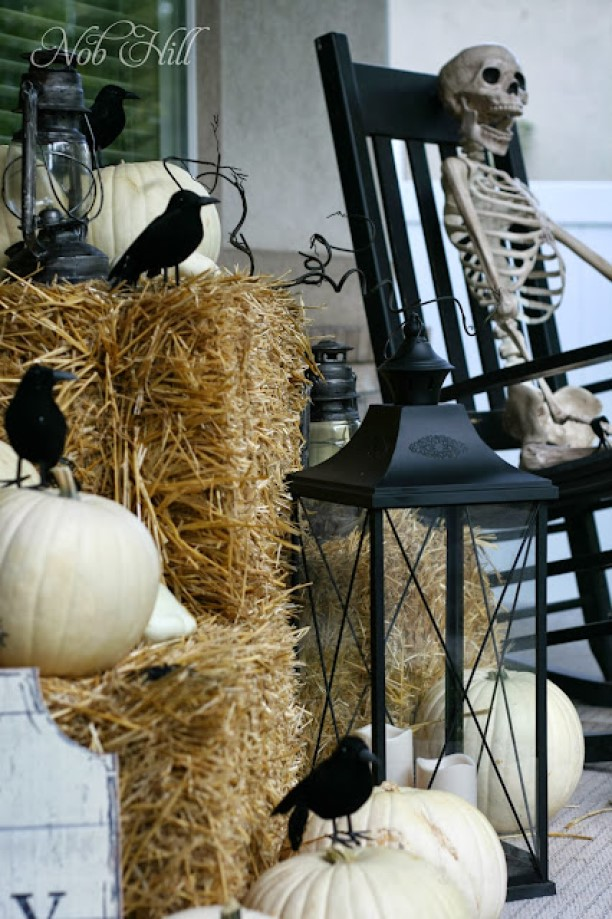 Fall Porch Decor with Some Crows and Bones