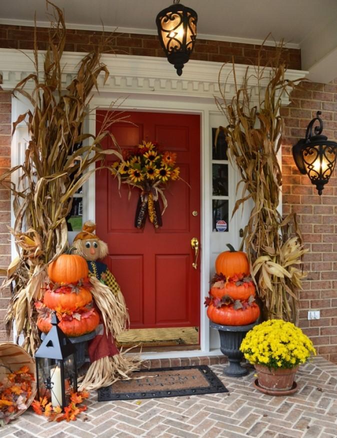 Fall Porch Pumpkin Topiaries