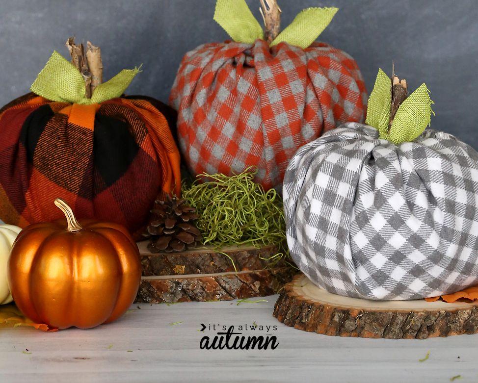 Easy Flannel DIY Faux Pumpkins