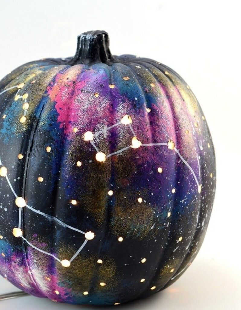 Galaxy Painted Pumpkin