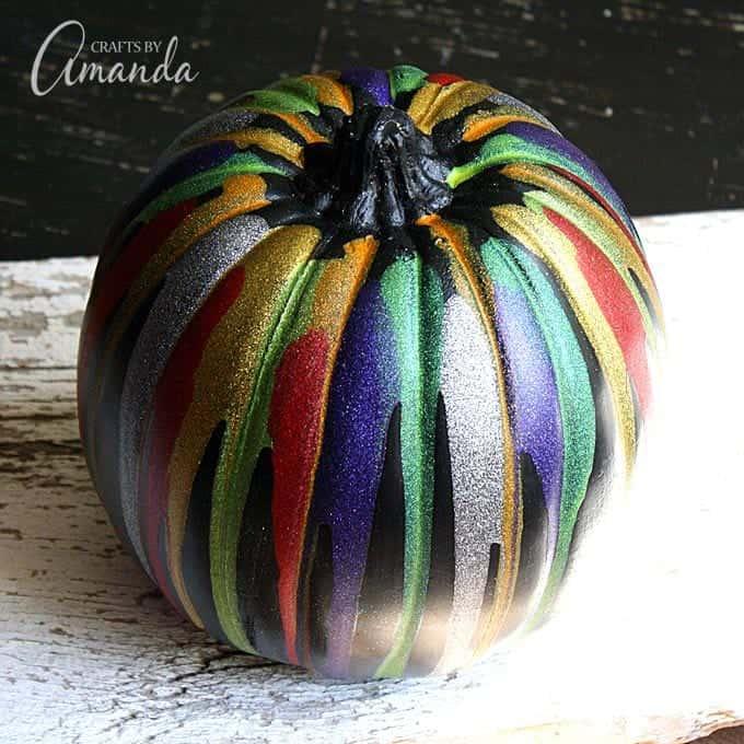 Glitter Drip Pumpkin Painting