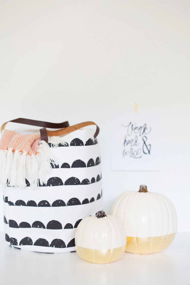Gold-Dipped Painted Pumpkins