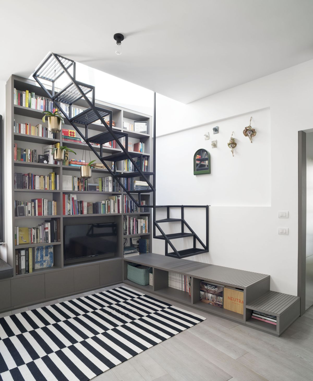 The stairs are integrated into the furniture is a surprisingly seamless manner