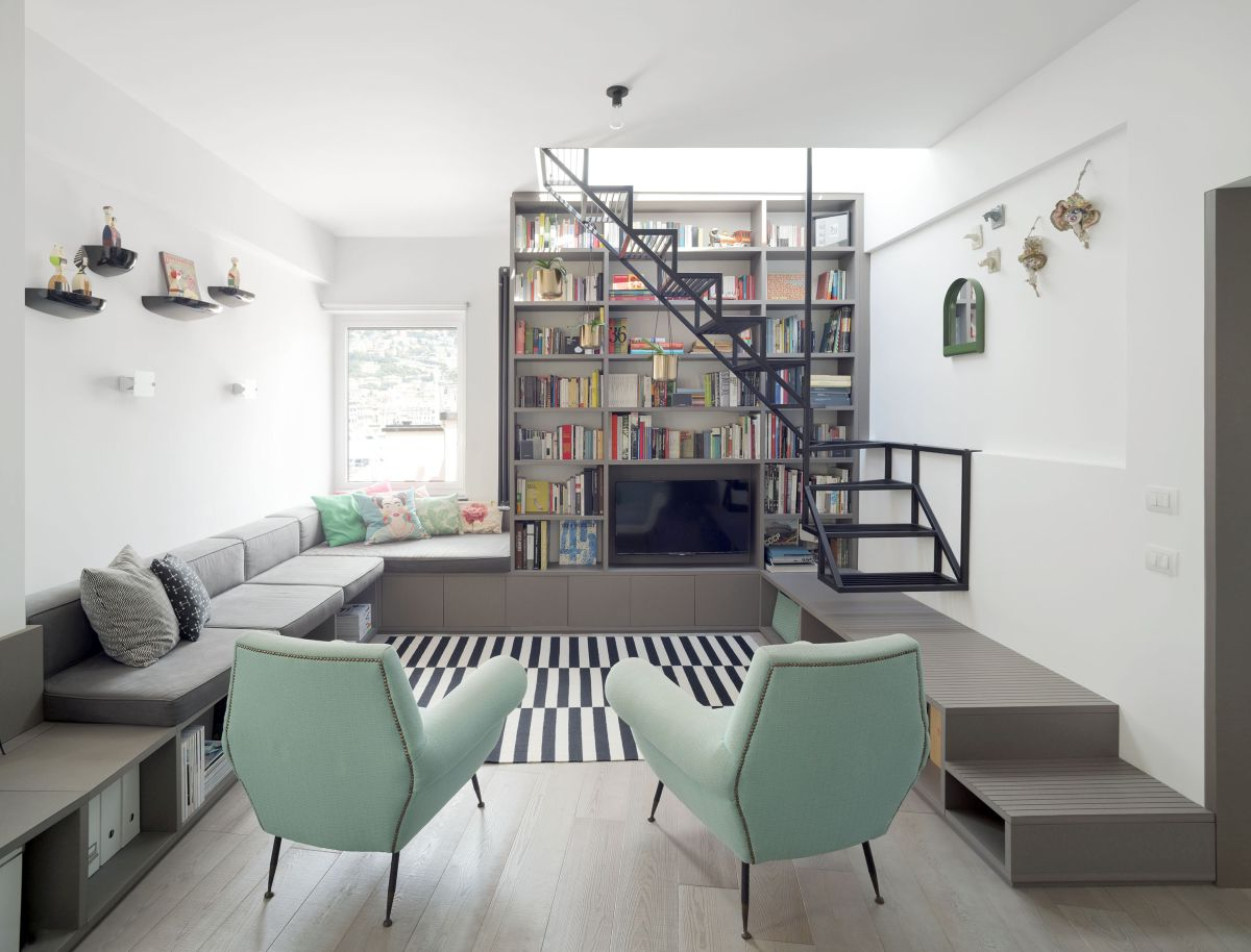 One of the most interesting interior design elements is this custom-built, multifunctional furniture unit