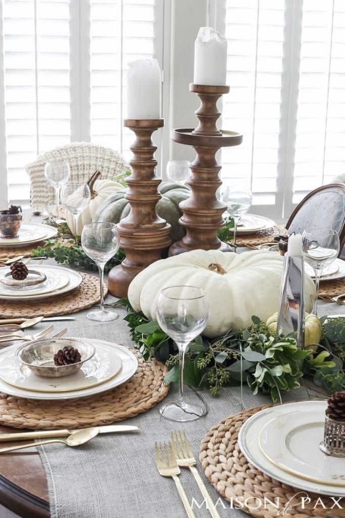 Green and white table fall arrangement
