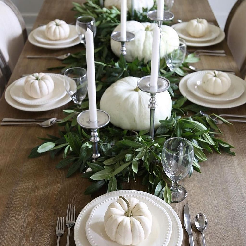 White Everything with Greenery For Your Fall Dinner Party