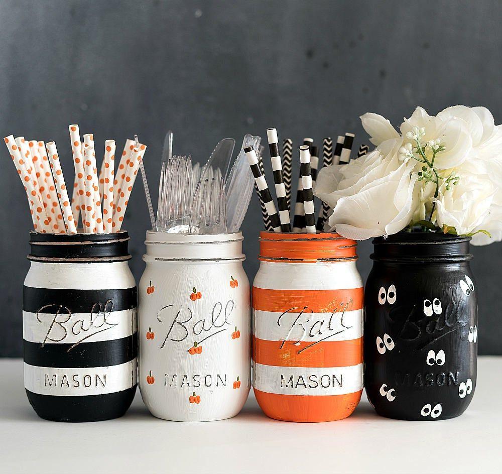Painted Mason Jars as Fall Party Decor Storage