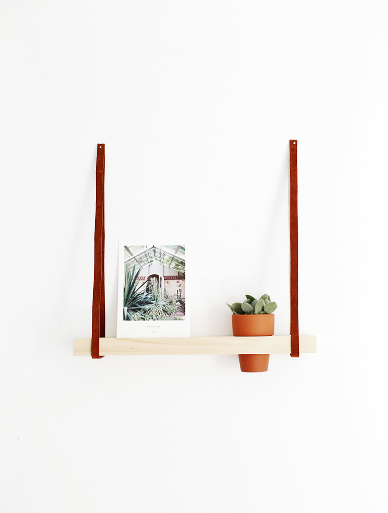 Cute shelf with a planter going through it