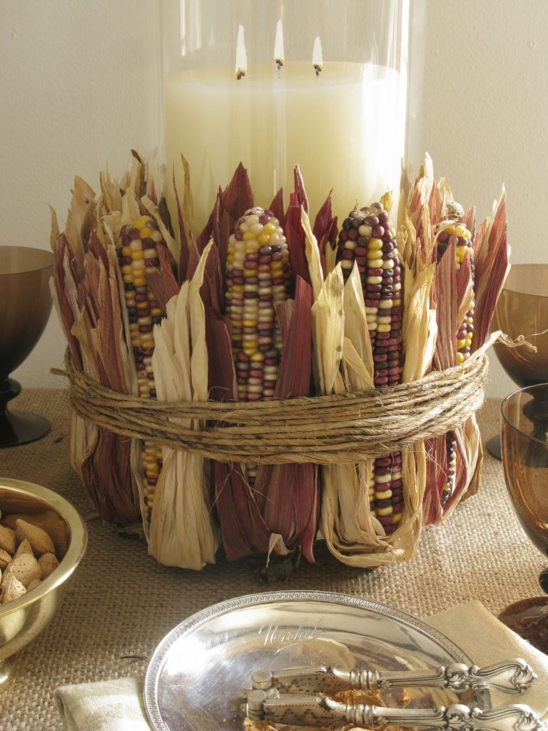 Indian Corn-Wrapped Candle