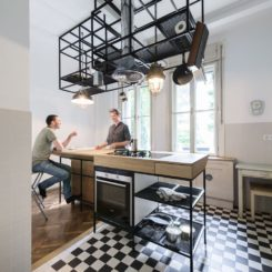Industrial style kitchen island with hoodf
