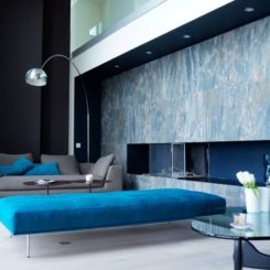 Large living with blue daybed