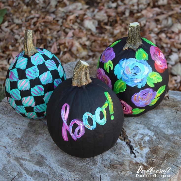 Paint Black Pumpkins with Colorful Designs