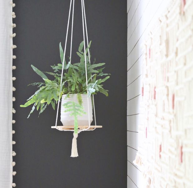 Simple shelf made from rope and a wooden plate