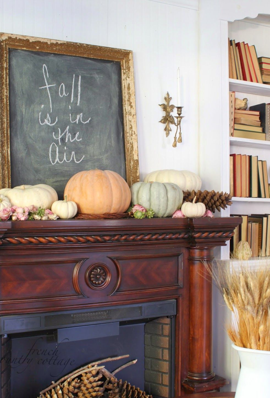 Mantel with Pumpkins and Vintage Chalkboard