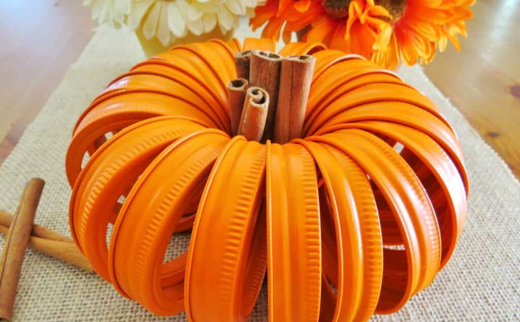 Mason Jar Lid Pumpkin Fall Party Decor