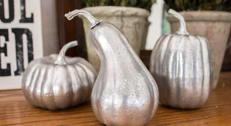 Mercury Glass Pumpkin Display