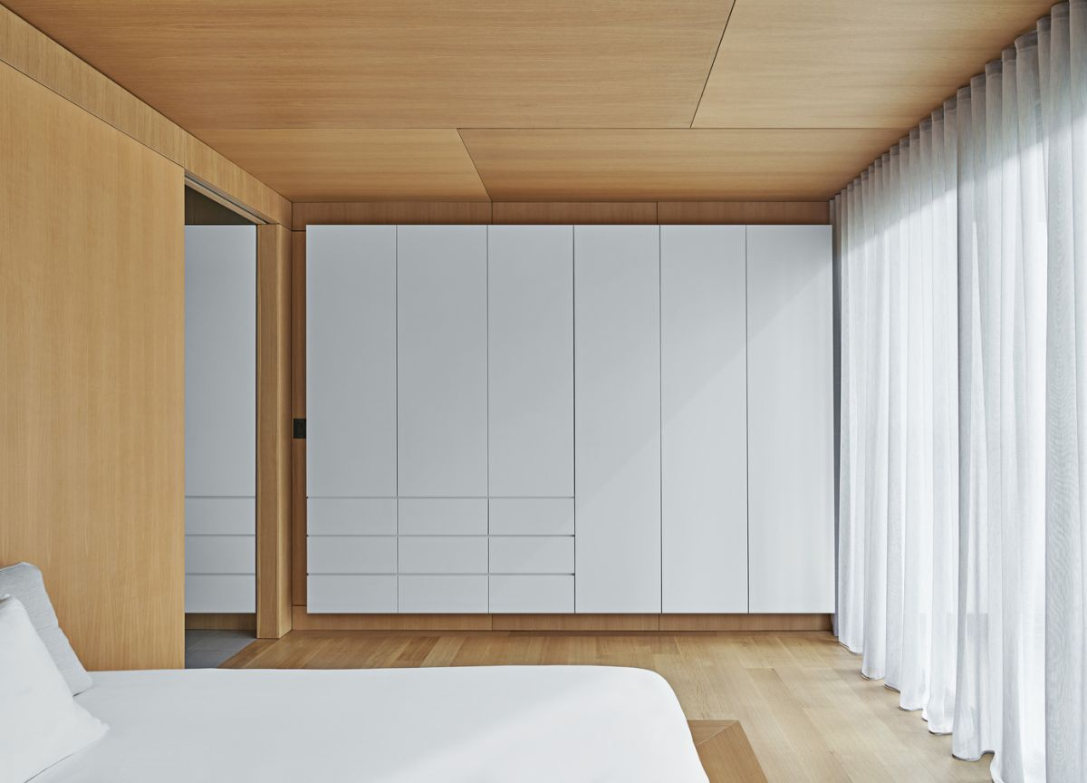 The sleeping area is clad in steel and lined with wood and looks very clean and simple