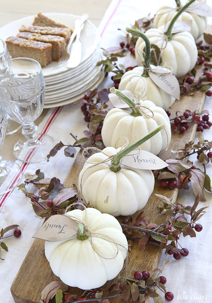 Image result for minimal white pumpkin centerpiece