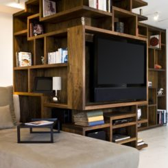 Multiple storage from a wall unit on corner