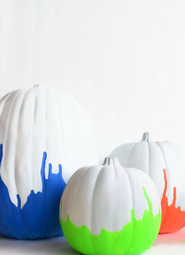 Neon Dipped Painted Pumpkins
