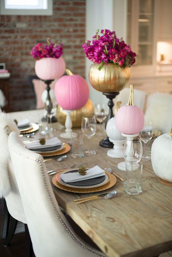 Pink and Gold Pumpkins