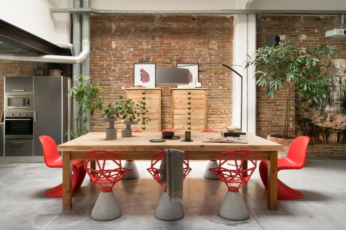 Exposed brick walls create beautiful backdrops for the furniture and decorations