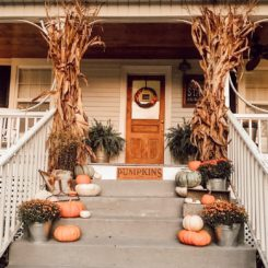 Porch decorated for fall