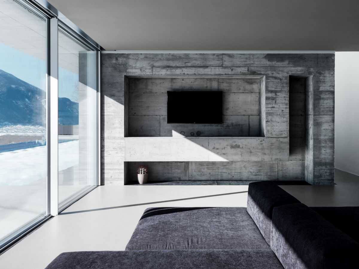 The palette of materials and finishes is reduced to very few options paired with neutral colors
