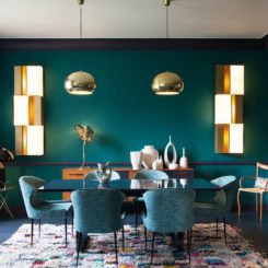 Rich jewel tones for dining area
