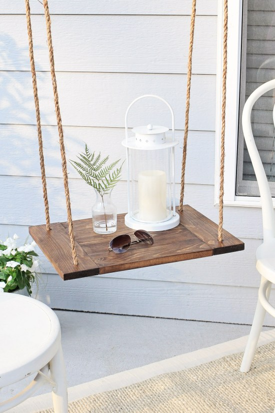 Hanging shelf and accent table combo