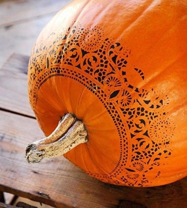 Stencil On Pumpkin Painting Designs