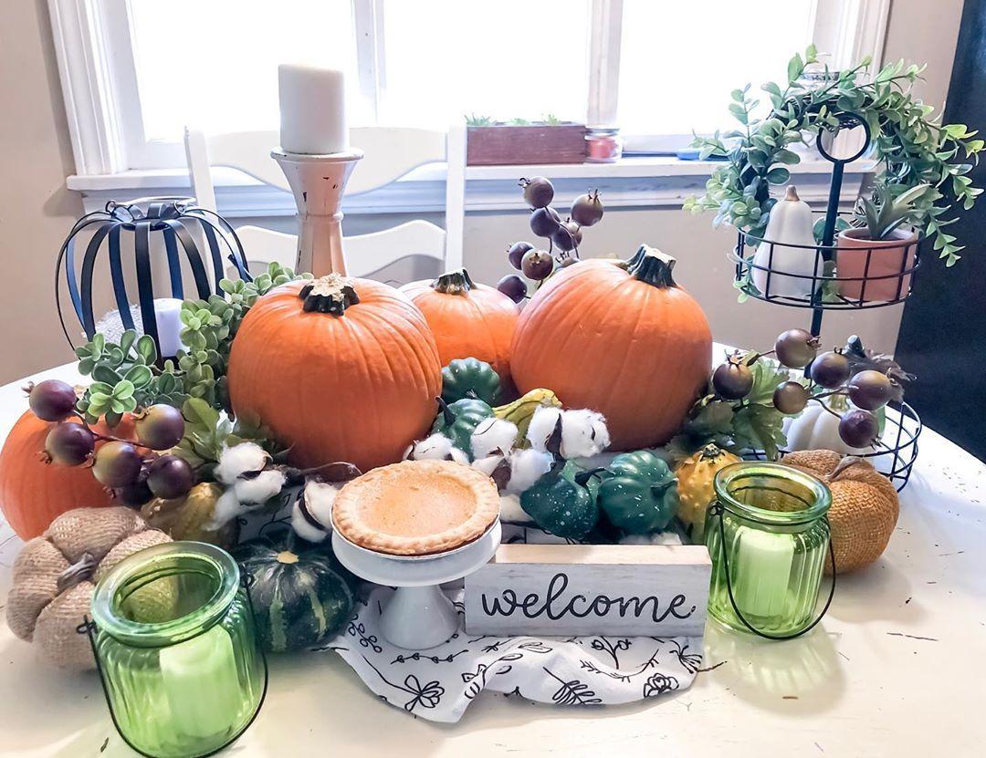 Eclectic Autumn Bounty Centerpiece