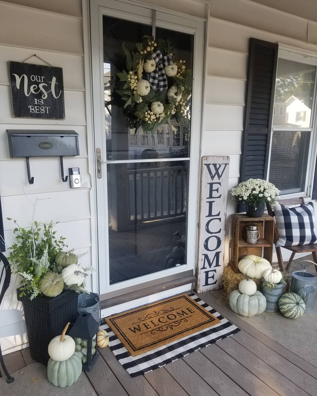Add Some Whites and Greens to Your Fall Porch Decor
