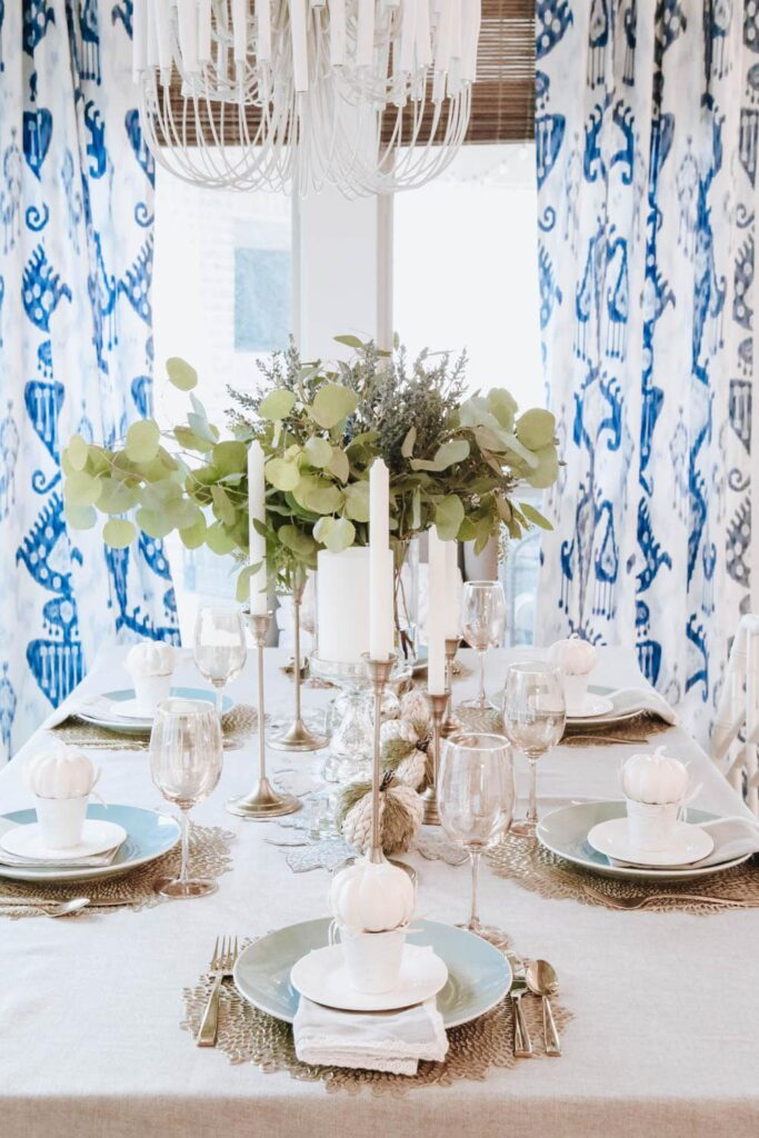 White and Gold Pumpkin Tablescape