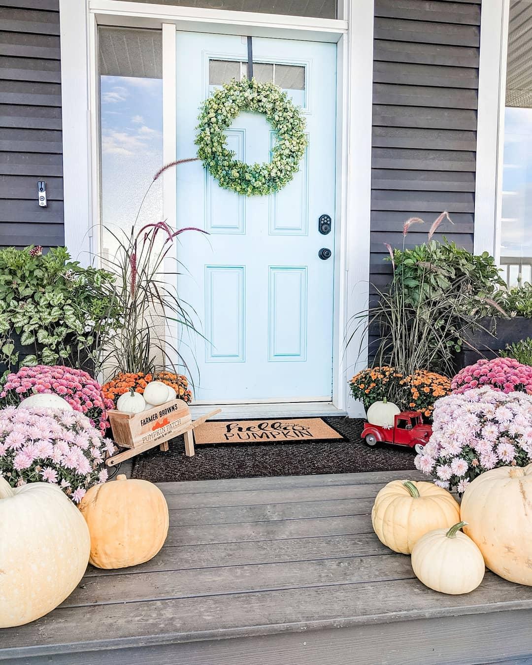 A Doorway to Elegant Pastels Fall Porch Decor