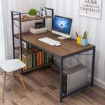 Tower Computer Desk with 4 Tier Shelves