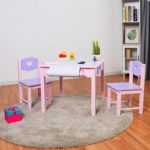 BABY JOY Kids Wood Table and 2 Chair Set