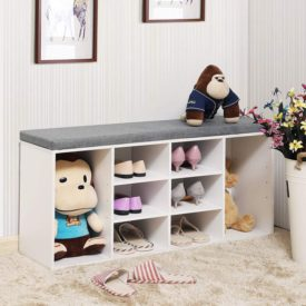 Bench with Cushion, Adjustable Shelves