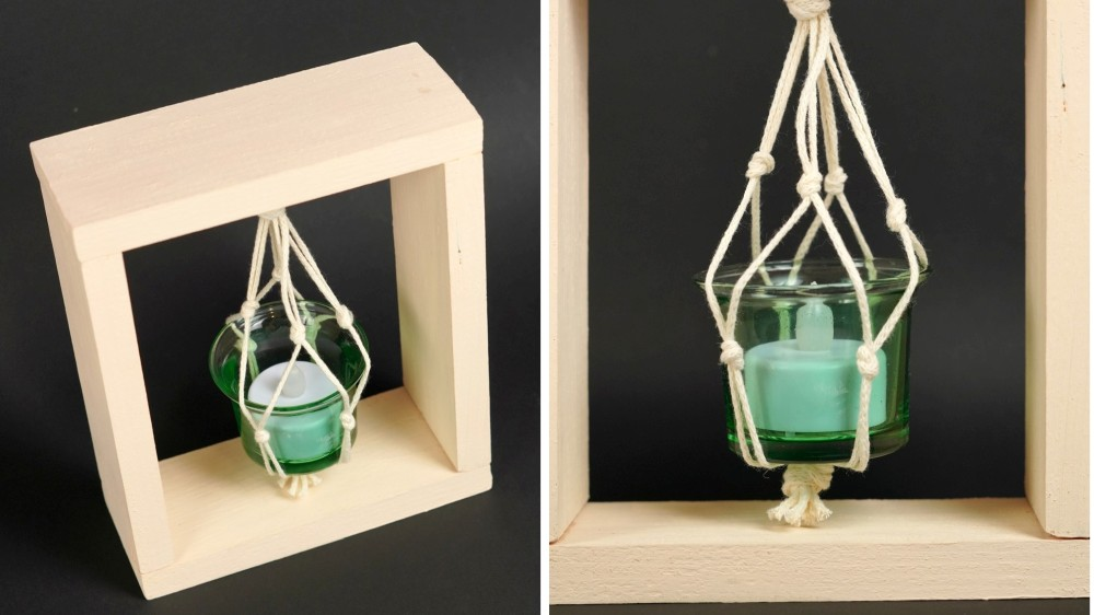 Boho candle lantern with a wooden frame