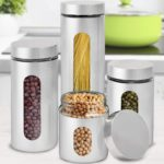 Brushed Stainless Steel and Glass Canisters