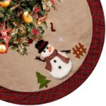 Burlap Christmas Tree Skirt with Santa