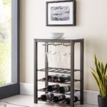 Calhan Free Standing Wine Rack Storage Table with Glass Holder