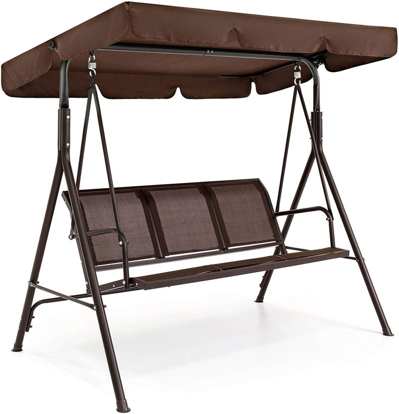 3-Seater Outdoor Adjustable Canopy Swing Glider